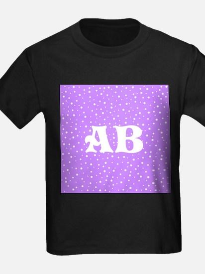 Custom Monogram Purple Spotted Pattern T-Shirt
