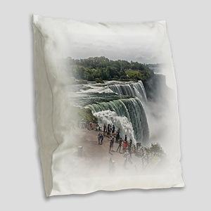 Niagara Falls 3 Burlap Throw Pillow