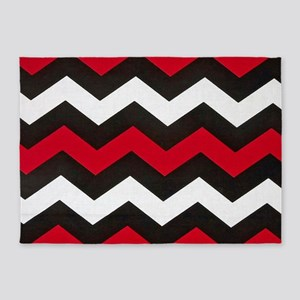Red Hot Red Chevrons 5'x7'Area Rug