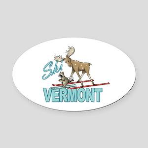 Ski Vermont Oval Car Magnet