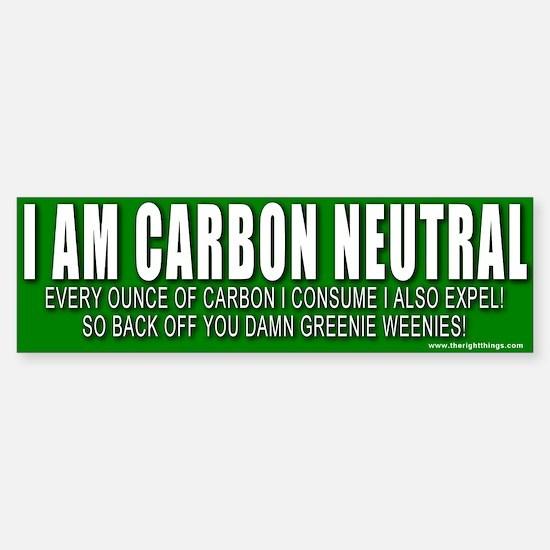 I Am Carbon Neutral Bumper Bumper Bumper Sticker
