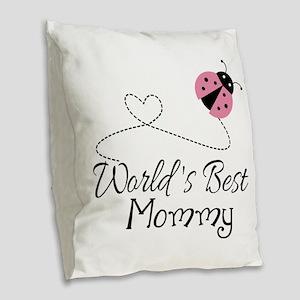 World's Best Mommy Burlap Throw Pillow