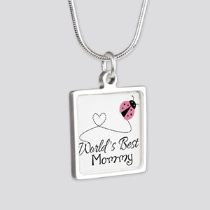 World's Best Mommy Silver Square Necklace