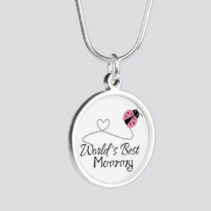 World's Best Mommy Silver Round Necklace