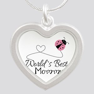 World's Best Mommy Silver Heart Necklace