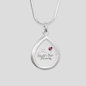 World's Best Mommy Silver Teardrop Necklace
