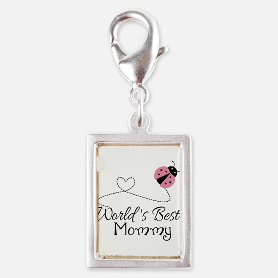 World's Best Mommy Silver Portrait Charm
