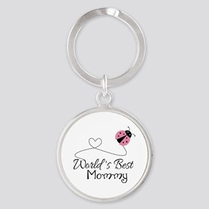World's Best Mommy Round Keychain