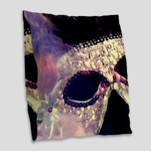 Mardi Gras Mask Burlap Throw Pillow