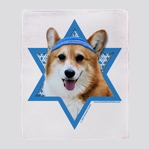Hanukkah Star of David - Corgi Throw Blanket