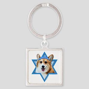 Hanukkah Star of David - Corgi Square Keychain