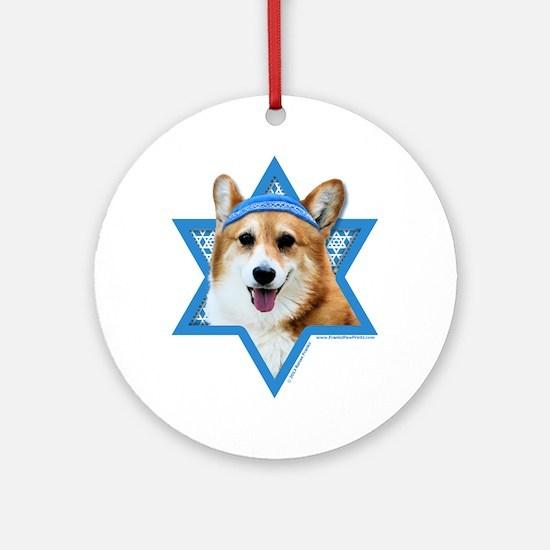 Hanukkah Star of David - Corgi Ornament (Round)