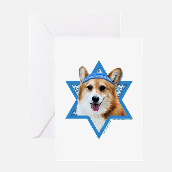 Hanukkah Star of David - Corgi Greeting Card