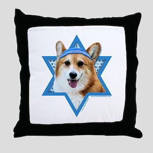 Hanukkah Star of David - Corgi Throw Pillow