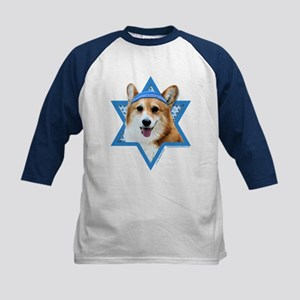 Hanukkah Star of David - Corgi Kids Baseball Jerse