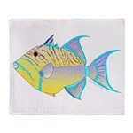Queen Triggerfish Throw Blanket