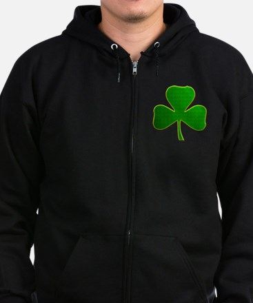Lucky Irish Shamrock Zip Hoodie (dark)