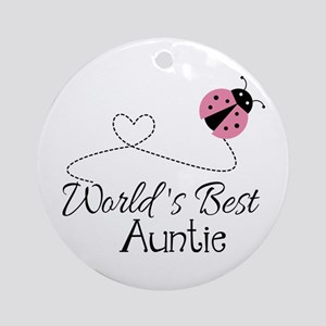 World's Best Auntie Ladybug Ornament (Round)