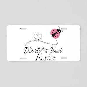 World's Best Auntie Ladybug Aluminum License Plate