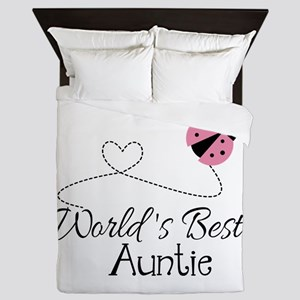 World's Best Auntie Ladybug Queen Duvet