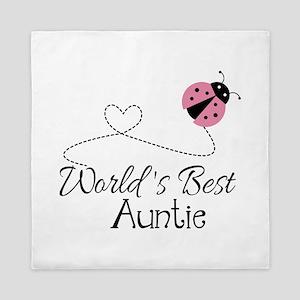 World's Best Auntie Ladybug Queen Duvet