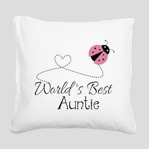 World's Best Auntie Ladybug Square Canvas Pillow