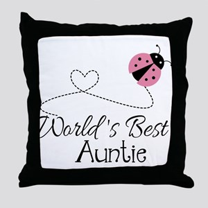 World's Best Auntie Ladybug Throw Pillow