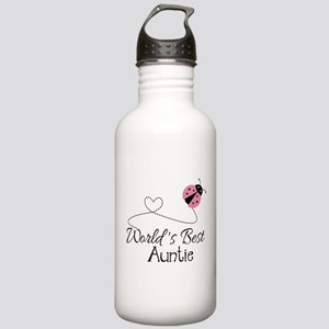 World's Best Auntie Ladybug Stainless Water Bottle