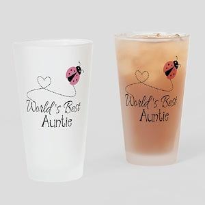 World's Best Auntie Ladybug Drinking Glass