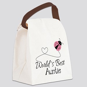World's Best Auntie Ladybug Canvas Lunch Bag