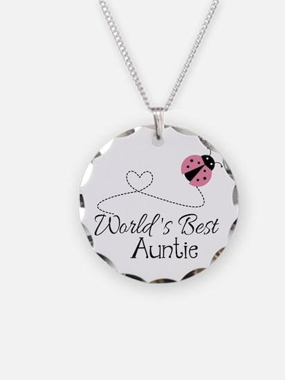 World's Best Auntie Ladybug Necklace Circle Charm