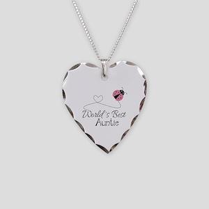 World's Best Auntie Ladybug Necklace Heart Charm