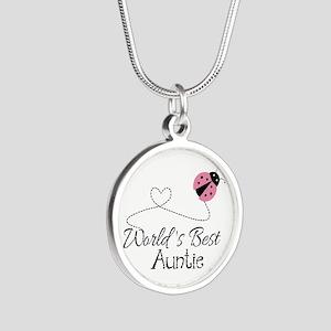 World's Best Auntie Ladybug Silver Round Necklace
