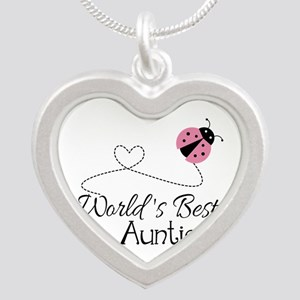 World's Best Auntie Ladybug Silver Heart Necklace