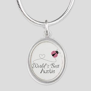 World's Best Auntie Ladybug Silver Oval Necklace