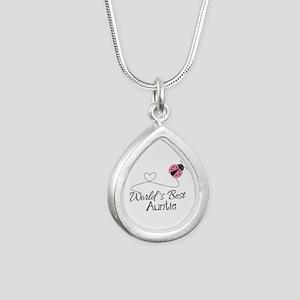 World's Best Auntie Ladybug Silver Teardrop Neckla