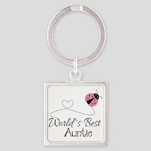 World's Best Auntie Ladybug Square Keychain