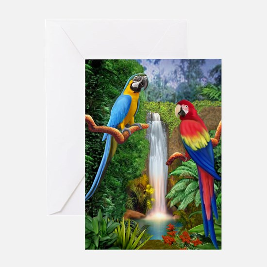 MACAW TROPICAL PARROTS Greeting Cards