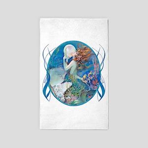 Clive Sensual Erotic Pearl Mermaid 3'X5' Area Rug