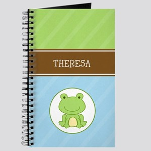 Green Frog (Blue/Green Stripe) Journal Add Name
