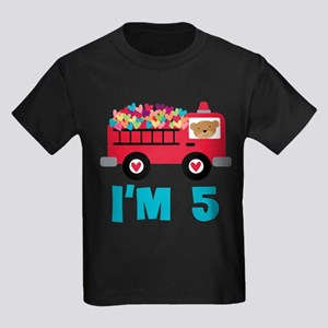 5th Birthday Firetruck Kids Dark T-Shirt