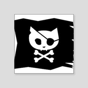 Pirate Kitty Jolly Roger Flag Sticker