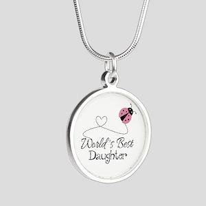 Worlds Best Daughter Silver Round Necklace