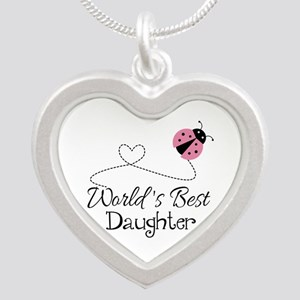 Worlds Best Daughter Silver Heart Necklace
