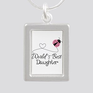 Worlds Best Daughter Silver Portrait Necklace