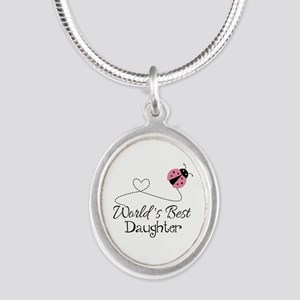 Worlds Best Daughter Silver Oval Necklace