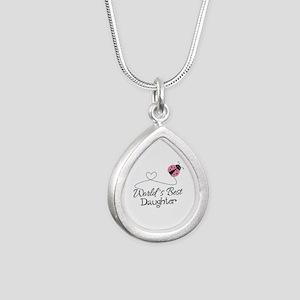 Worlds Best Daughter Silver Teardrop Necklace