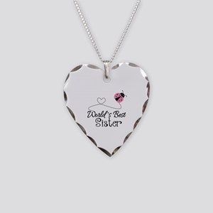 Worlds Best Sister Necklace Heart Charm
