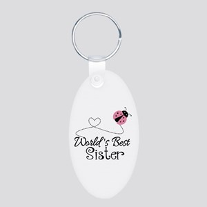 Worlds Best Sister Aluminum Oval Keychain