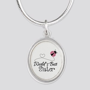 Worlds Best Sister Silver Oval Necklace
